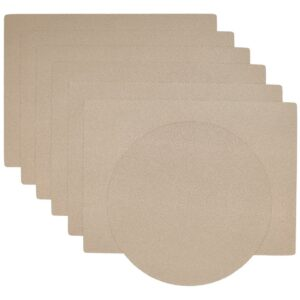 Sweet Pea Linens - Tan Dot Vinyl Wipe Clean Rectangle Placemats - Set of Six plus Center Round-Charger (SKU#: RS7-1002-V3) - Product Image