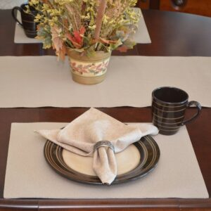 Sweet Pea Linens - Tan Dot Vinyl Wipe Clean Rectangle Placemats - Set of Six plus Center Round-Charger (SKU#: RS7-1002-V3) - Table Setting