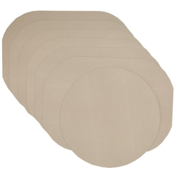 Sweet Pea Linens - Tan Dot Vinyl Wipe Clean Oval Placemats - Set of Six plus Center Round-Charger (SKU#: RS7-1040-V3) - Product Image