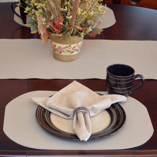 Sweet Pea Linens - Tan Dot Vinyl Wipe Clean Oval Placemats - Set of Six plus Center Round-Charger (SKU#: RS7-1040-V3) - Table Setting