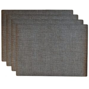 Sweet Pea Linens - Silver & Black Vinyl Wipe Clean Rectangle Placemats - Set of Four (SKU#: RS4-1002-V4) - Product Image