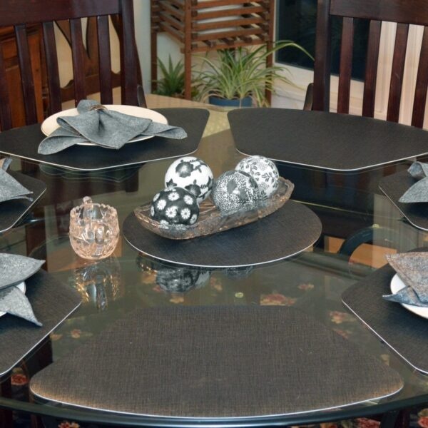 Sweet Pea Linens - Silver & Black Vinyl Wipe Clean Wedge-Shaped Placemats - Set of Four (SKU#: RS4-1006-V4) - Table Setting