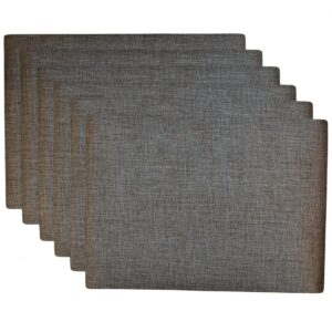Sweet Pea Linens - Silver & Black Vinyl Wipe Clean Rectangle Placemats - Set of Six (SKU#: RS6-1002-V4) - Product Image