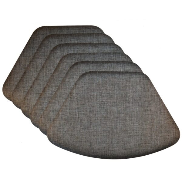 Sweet Pea Linens - Silver & Black Vinyl Wipe Clean Wedge-Shaped Placemats - Set of Six (SKU#: RS6-1006-V4) - Product Image