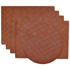 Sweet Pea Linens - Brick Leather Look Vinyl Wipe Clean Rectangle Placemats - Set of Four plus Center Round-Charger (SKU#: RS5-1002-V5) - Product Image