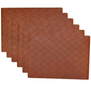 Sweet Pea Linens - Brick Leather Look Vinyl Wipe Clean Rectangle Placemats - Set of Six (SKU#: RS6-1002-V5) - Product Image