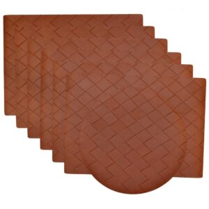 Sweet Pea Linens - Brick Leather Look Vinyl Wipe Clean Rectangle Placemats - Set of Six plus Center Round-Charger (SKU#: RS7-1002-V5) - Product Image