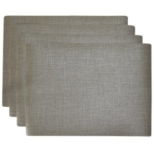Sweet Pea Linens - Silver & Grey Vinyl Wipe Clean Rectangle Placemats - Set of Four (SKU#: RS4-1002-V7) - Product Image