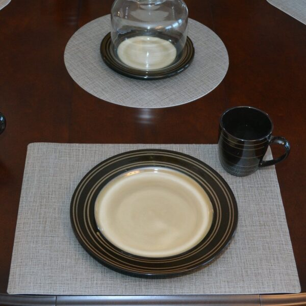 Sweet Pea Linens - Silver & Grey Vinyl Wipe Clean Rectangle Placemats - Set of Four (SKU#: RS4-1002-V7) - Table Setting