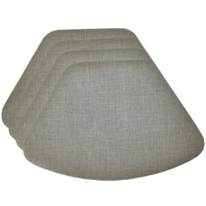 Sweet Pea Linens - Silver & Grey Vinyl Wipe Clean Wedge-Shaped Placemats - Set of Four (SKU#: RS4-1006-V7) - Product Image