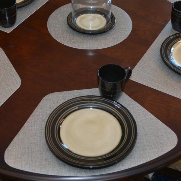 Sweet Pea Linens - Silver & Grey Vinyl Wipe Clean Wedge-Shaped Placemats - Set of Four (SKU#: RS4-1006-V7) - Table Setting