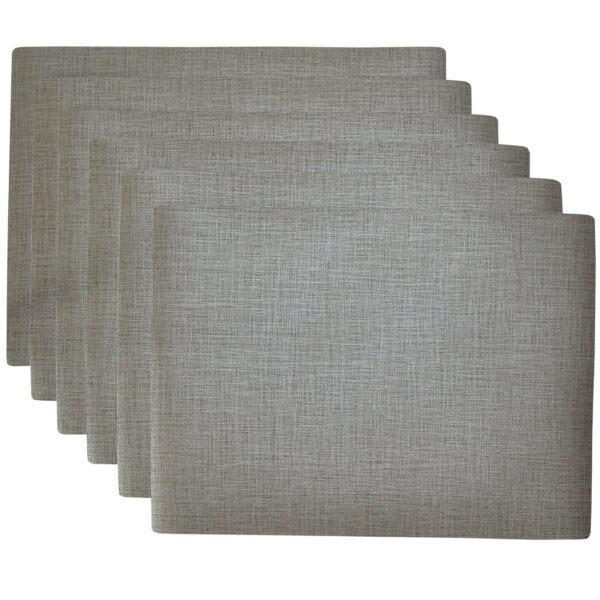 Sweet Pea Linens - Silver & Grey Vinyl Wipe Clean Rectangle Placemats - Set of Six (SKU#: RS6-1002-V7) - Product Image