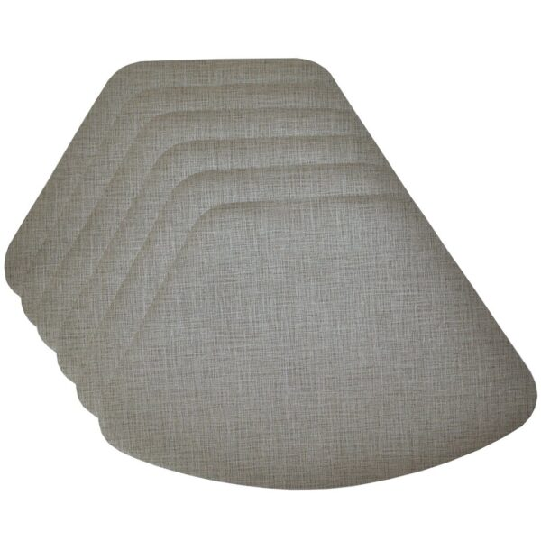 Sweet Pea Linens - Silver & Grey Vinyl Wipe Clean Wedge-Shaped Placemats - Set of Six (SKU#: RS6-1006-V7) - Product Image