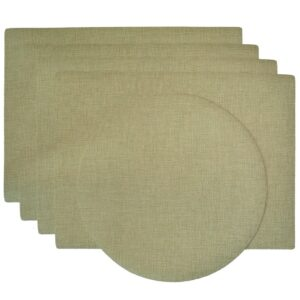 Sweet Pea Linens - Green Vinyl Wipe Clean Rectangle Placemats - Set of Four plus Center Round-Charger (SKU#: RS5-1002-V8) - Product Image