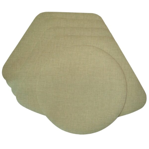 Sweet Pea Linens - Green Vinyl Wipe Clean Wedge-Shaped Placemats - Set of Four plus Center Round-Charger (SKU#: RS5-1006-V8) - Product Image