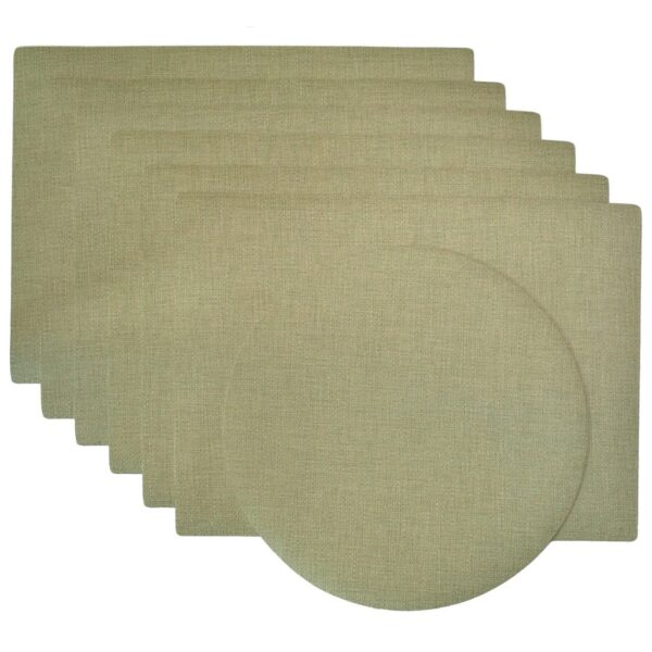Sweet Pea Linens - Green Vinyl Wipe Clean Rectangle Placemats - Set of Six plus Center Round-Charger (SKU#: RS7-1002-V8) - Product Image