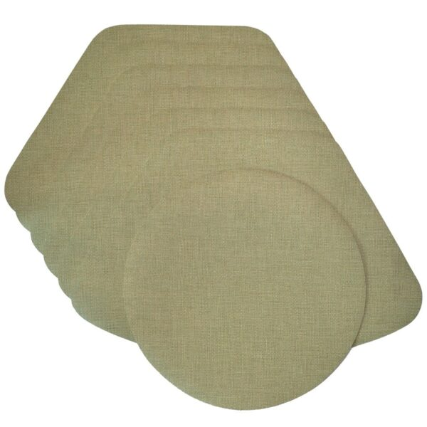 Sweet Pea Linens - Green Vinyl Wipe Clean Wedge-Shaped Placemats - Set of Six plus Center Round-Charger (SKU#: RS7-1006-V8) - Product Image