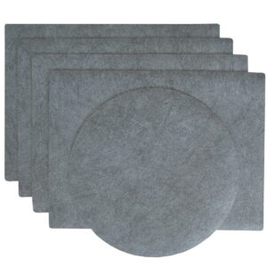 Sweet Pea Linens - Dusty Blue Vinyl Wipe Clean Rectangle Placemats - Set of Four plus Center Round-Charger (SKU#: RS5-1002-V9) - Product Image
