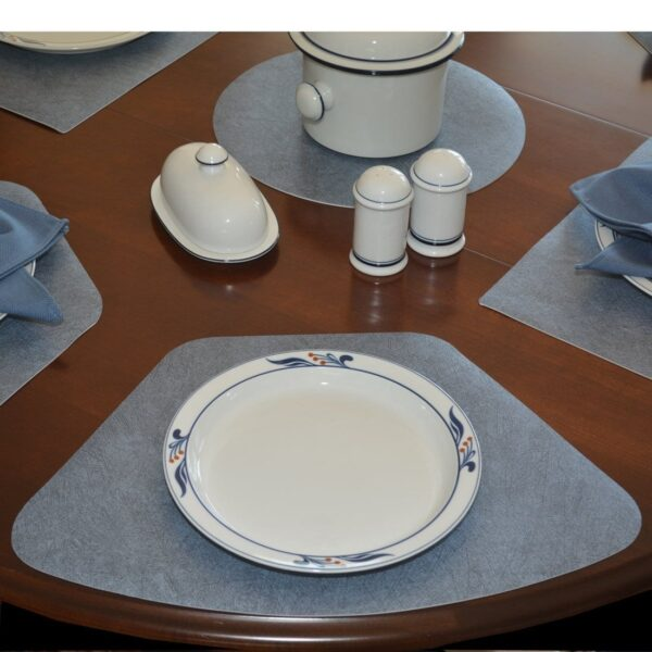 Sweet Pea Linens - Dusty Blue Vinyl Wipe Clean Wedge-Shaped Placemats - Set of Four plus Center Round-Charger (SKU#: RS5-1006-V9) - Table Setting