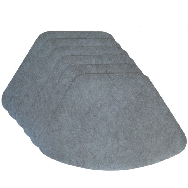 Sweet Pea Linens - Dusty Blue Vinyl Wipe Clean Wedge-Shaped Placemats - Set of Six (SKU#: RS6-1006-V9) - Product Image