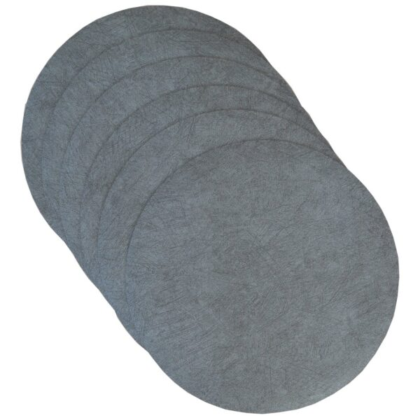 Sweet Pea Linens - Dusty Blue Vinyl Wipe Clean Charger-Center Round Placemats - Set of Six (SKU#: RS6-1015-V9) - Product Image