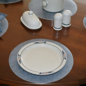 Sweet Pea Linens - Dusty Blue Vinyl Wipe Clean Charger-Center Round Placemats - Set of Six (SKU#: RS6-1015-V9) - Table Setting