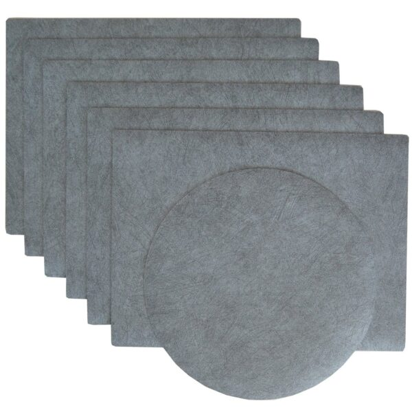 Sweet Pea Linens - Dusty Blue Vinyl Wipe Clean Rectangle Placemats - Set of Six plus Center Round-Charger (SKU#: RS7-1002-V9) - Product Image