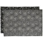 Sweet Pea Linens - Black Paisley Print Rectangle Placemats - Set of Two (SKU#: RS2-1002-W3) - Product Image