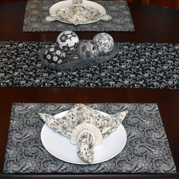 Sweet Pea Linens - Black Paisley Print Rectangle Placemats - Set of Two (SKU#: RS2-1002-W3) - Table Setting