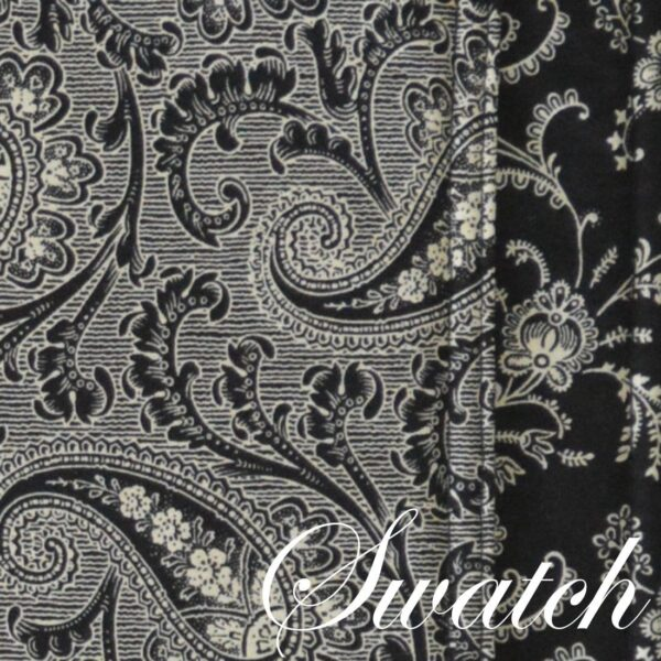 Sweet Pea Linens - Black Paisley Print Rectangle Placemats - Set of Two (SKU#: RS2-1002-W3) - Swatch