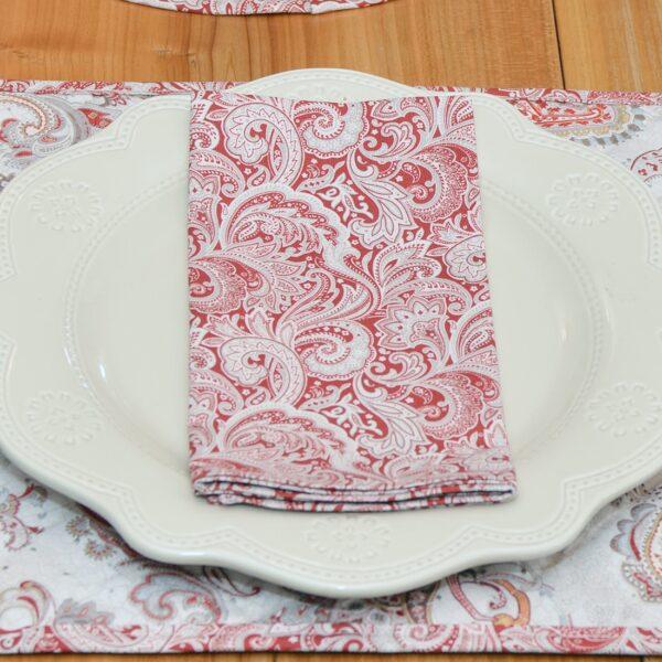 Sweet Pea Linens - Brick Red Paisley Print Cloth Napkin (SKU#: R-1010-W4) - Table Setting