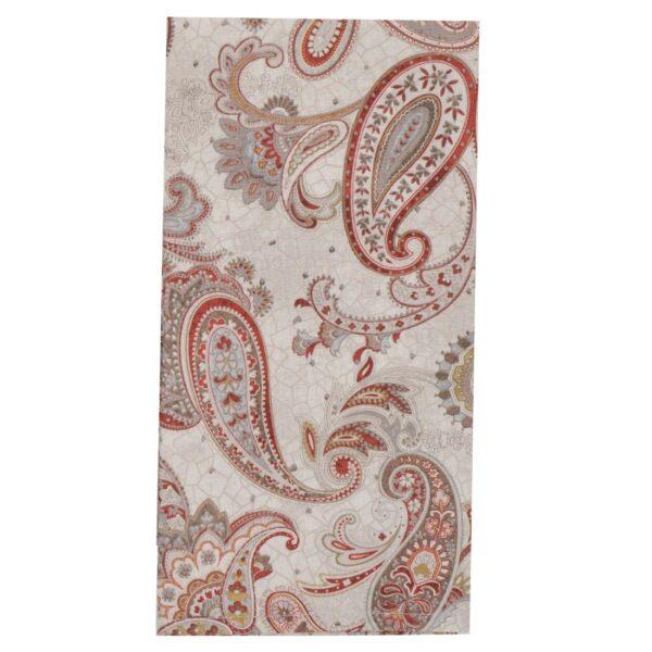 Sweet Pea Linens - Beige & Brick Red Paisley Print Cloth Napkin (SKU#: R-1010-W40) - Product Image