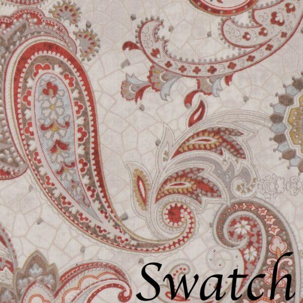 Sweet Pea Linens - Beige & Brick Red Paisley Print Cloth Napkin (SKU#: R-1010-W40) - Swatch