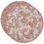 Sweet Pea Linens - Quilted Brick Red & Beige Paisley Print Charger-Center Round Placemat (SKU#: R-1015-W4) - Product Image