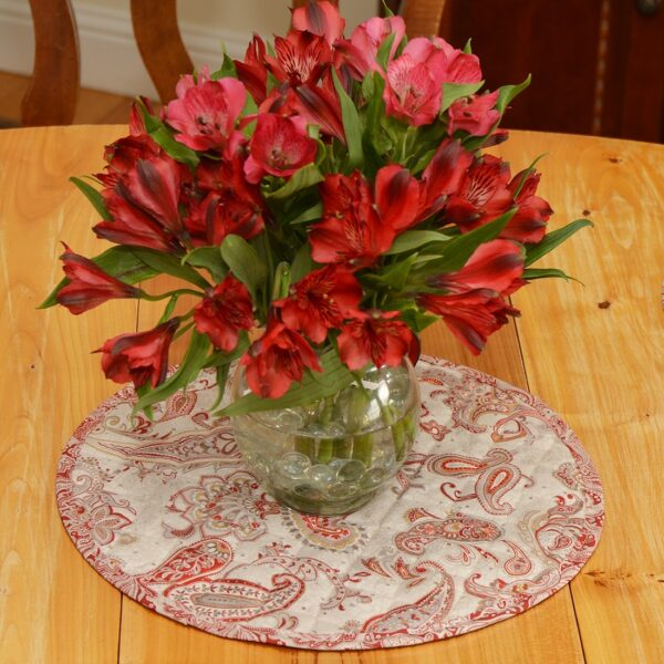 Sweet Pea Linens - Quilted Brick Red & Beige Paisley Print Charger-Center Round Placemat (SKU#: R-1015-W4) - Table Setting