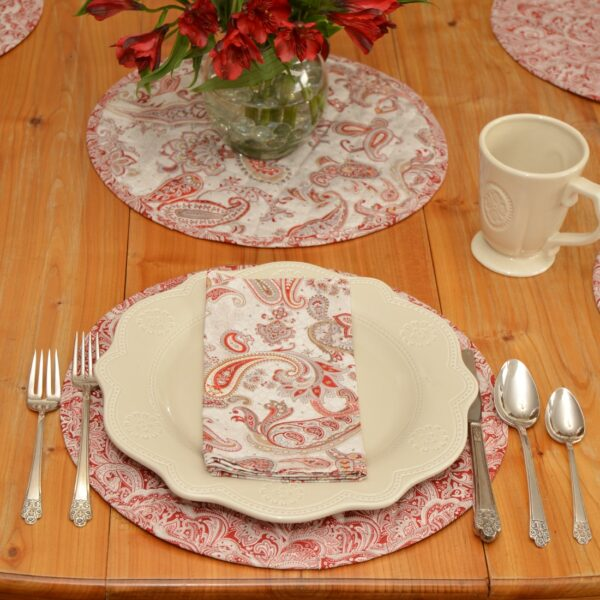 Sweet Pea Linens - Quilted Brick Red & Beige Paisley Print Charger-Center Round Placemat (SKU#: R-1015-W4) - Alternate Table Setting