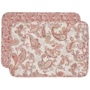 Sweet Pea Linens - Quilted Brick Red & Beige Paisley Print Rectangle Placemats - Set of Two (SKU#: RS2-1001-W4) - Product Image