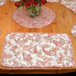 Sweet Pea Linens - Quilted Brick Red & Beige Paisley Print Rectangle Placemats - Set of Two (SKU#: RS2-1001-W4) - Table Setting