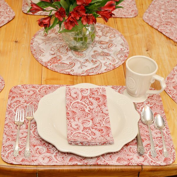Sweet Pea Linens - Quilted Brick Red & Beige Paisley Print Rectangle Placemats - Set of Two (SKU#: RS2-1001-W4) - Alternate Table Setting