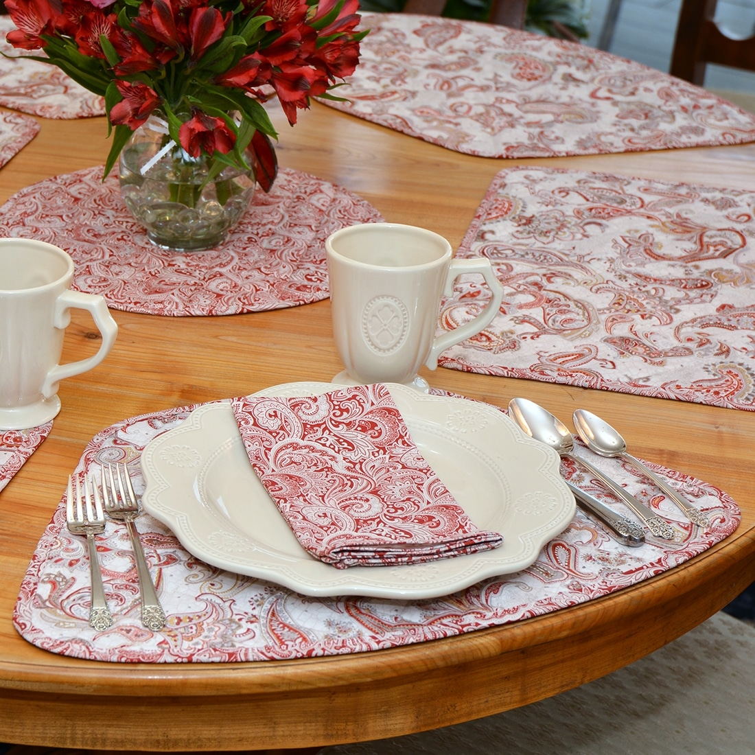 Sweet Pea Linens - Quilted Brick Red & Beige Paisley Print Wedge-Shaped Placemats - Set of Two (SKU#: RS2-1006-W4) - Table Setting
