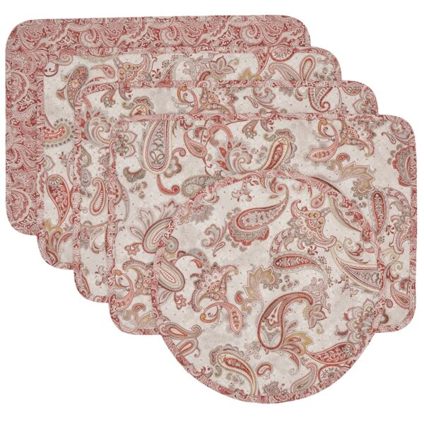 Sweet Pea Linens - Quilted Brick Red & Beige Paisley Print Rectangle Placemats - Set of Four plus Center Round-Charger (SKU#: RS5-1001-W4) - Product Image