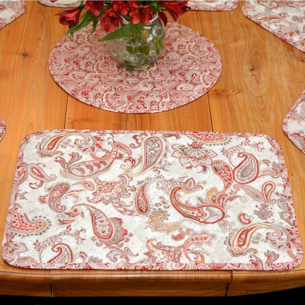 Sweet Pea Linens - Quilted Brick Red & Beige Paisley Print Rectangle Placemats - Set of Four plus Center Round-Charger (SKU#: RS5-1001-W4) - Table Setting