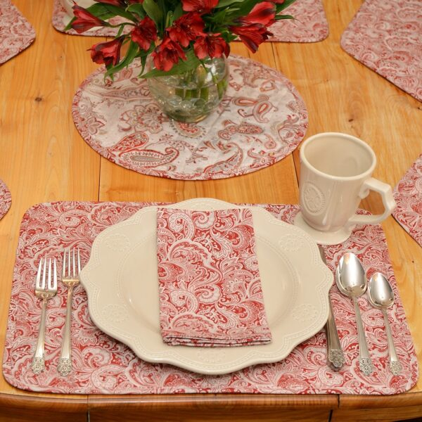 Sweet Pea Linens - Quilted Brick Red & Beige Paisley Print Rectangle Placemats - Set of Four plus Center Round-Charger (SKU#: RS5-1001-W4) - Alternate Table Setting