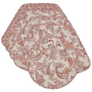 Sweet Pea Linens - Quilted Brick Red & Beige Paisley Print Wedge-Shaped Placemats - Set of Four plus Center Round-Charger (SKU#: RS5-1006-W4) - Product Image