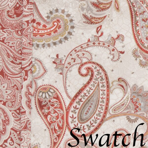 Sweet Pea Linens - Quilted Brick Red & Beige Paisley Print Wedge-Shaped Placemats - Set of Four plus Center Round-Charger (SKU#: RS5-1006-W4) - Swatch