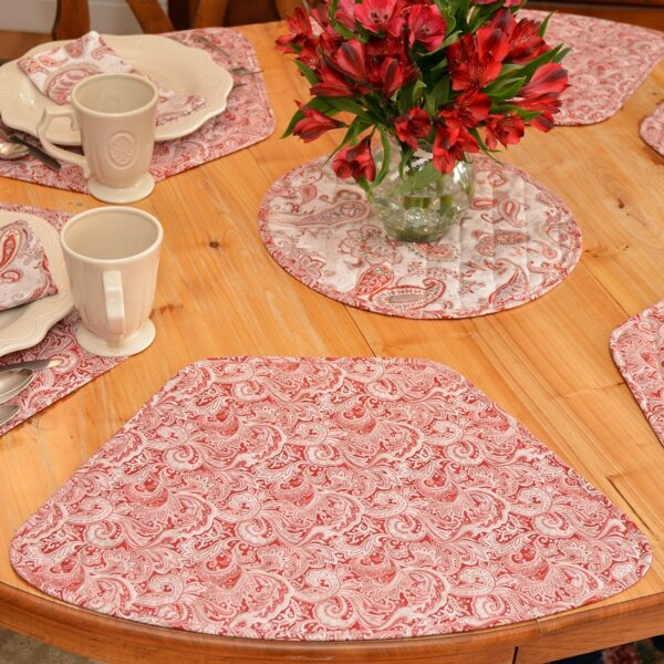 Sweet Pea Linens - Quilted Brick Red & Beige Paisley Print Wedge-Shaped Placemats - Set of Four plus Center Round-Charger (SKU#: RS5-1006-W4) - Alternate Table Setting
