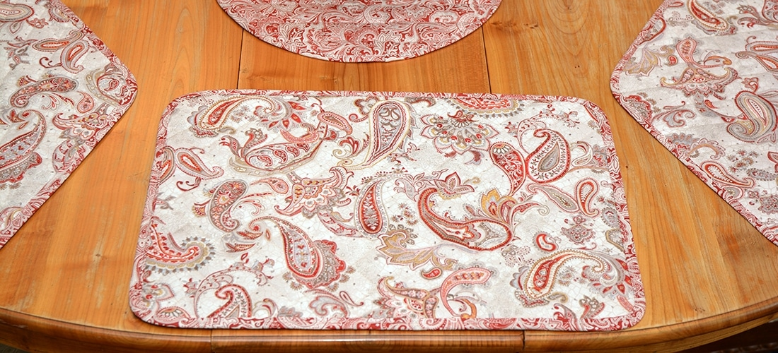 Sweet Pea Linens - Quilted Brick Red & Beige Paisley Print Table Linen Collection (W4)