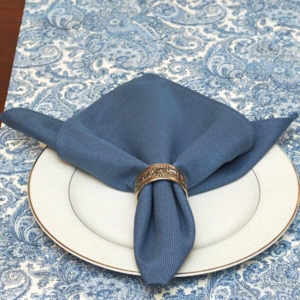 Sweet Pea Linens - Blue Canvas Cloth Napkin (SKU#: R-1010-U1) - Table Setting