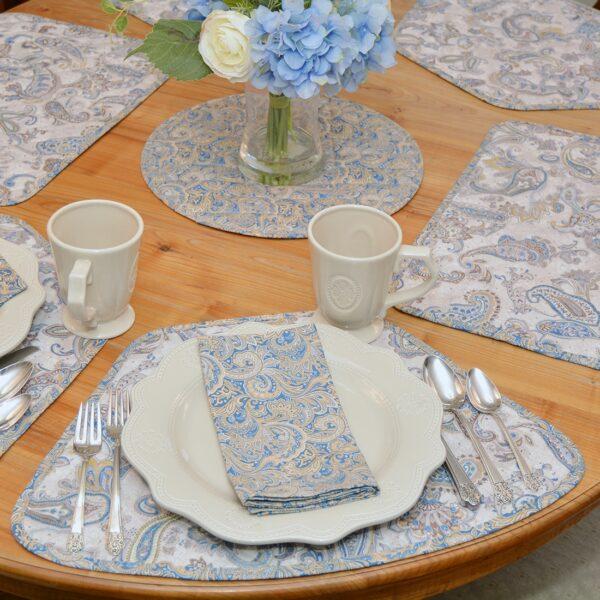 Sweet Pea Linens - Blue Paisley Print Cloth Napkin (SKU#: R-1010-W5) - Alternate Table Setting