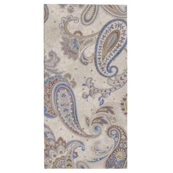 Sweet Pea Linens - Beige & Blue Paisley Print  Cloth Napkin (SKU#: R-1010-W50) - Product Image